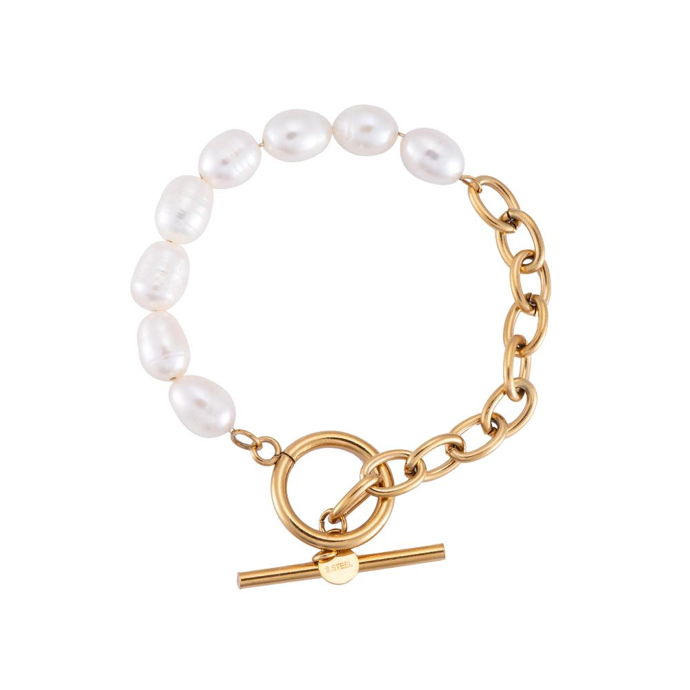 Armband Perle/ Edelstahl vergoldet