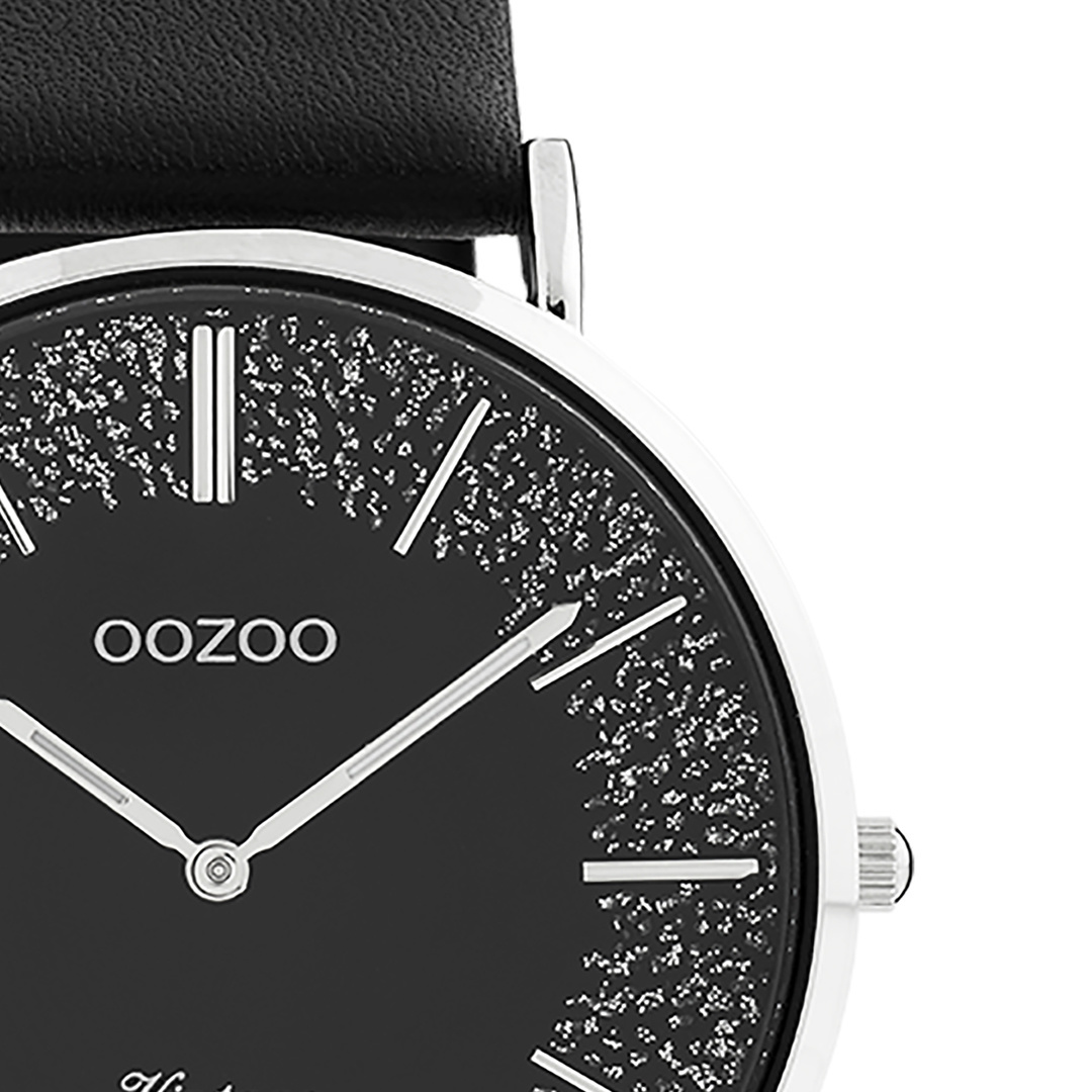 OOZOO Vintage Damenuhr Silber/schwarz Lederband