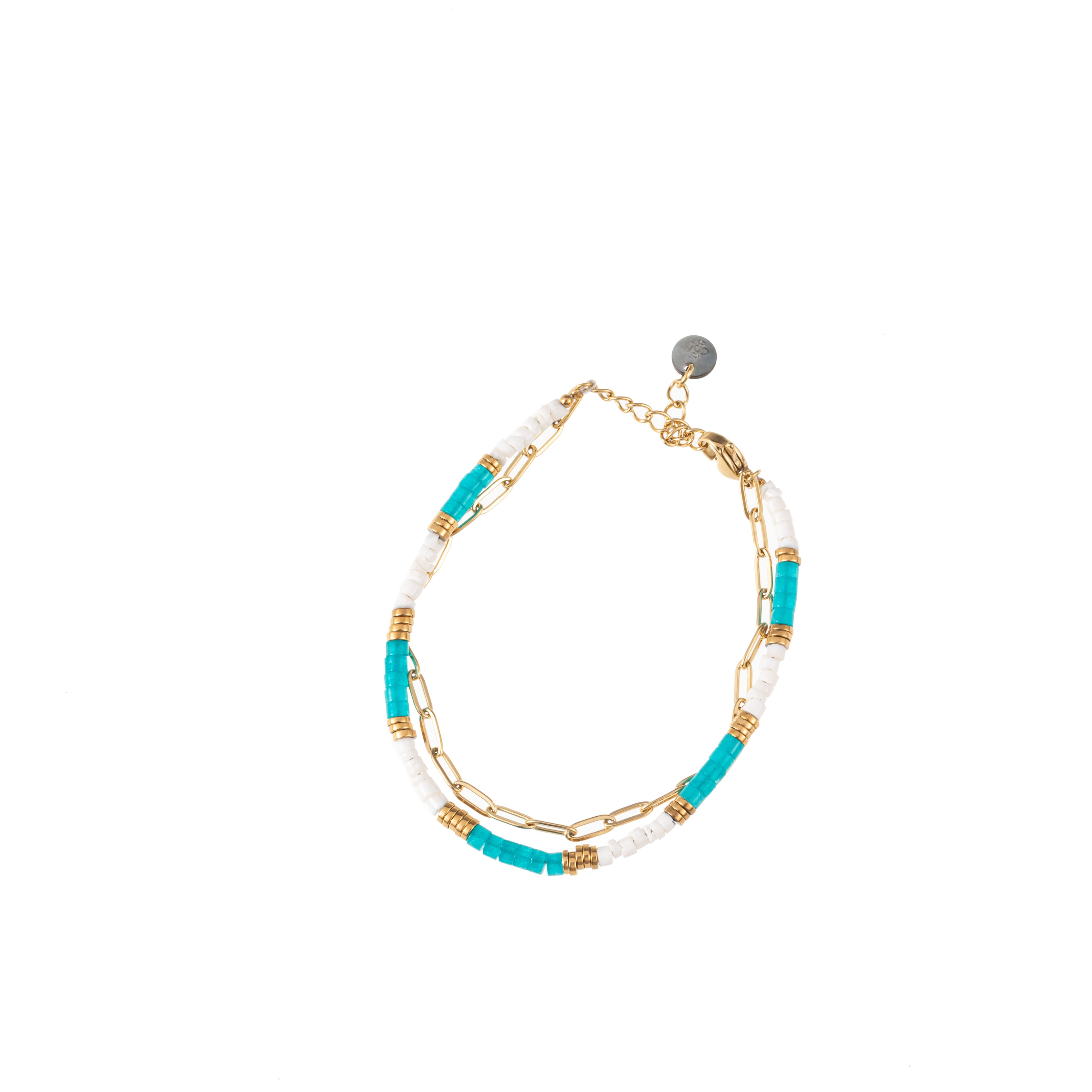 Armband 2 reihig Edelstahl/Quarzscheibchen
