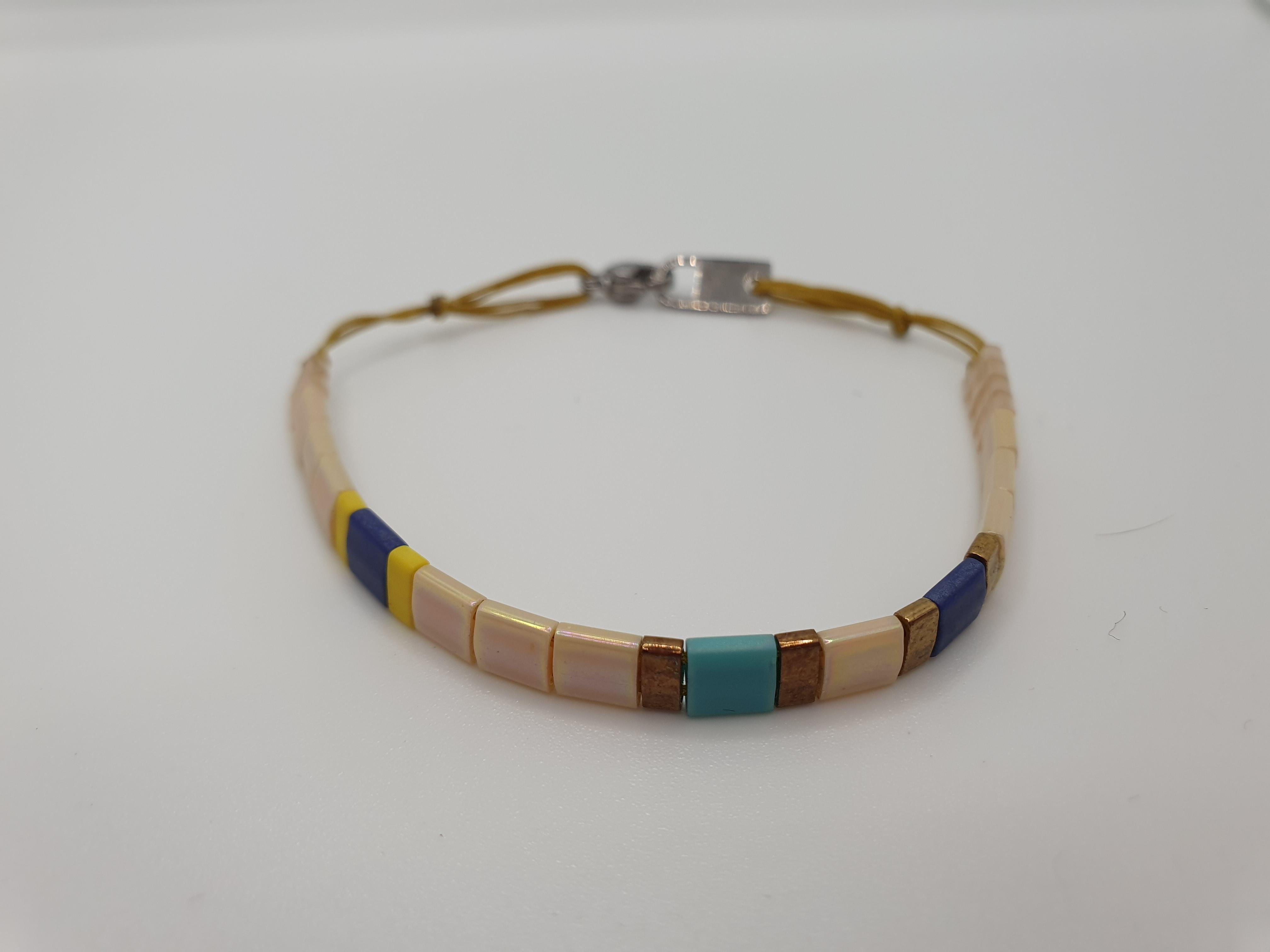 Armband Plättchen beige, blau, türkis, silberfarben