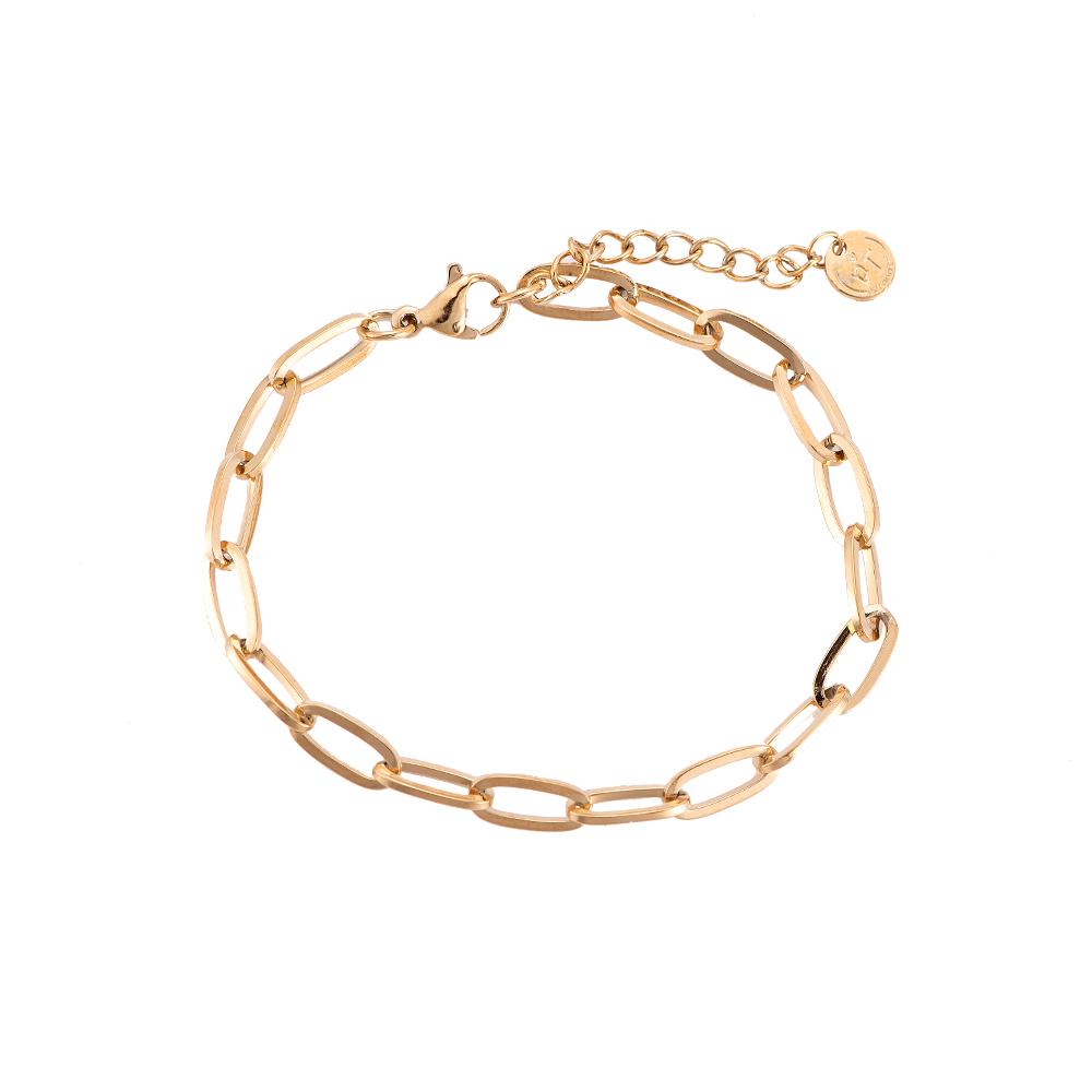 Armband oval round Chain vergoldet